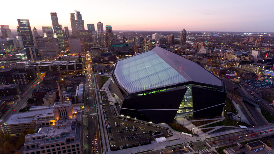 Us Bank Stadium in Minneapolis Minnesota. Building, architecture, outdoor,