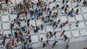 Crowd of People from Above Bird's Eye View