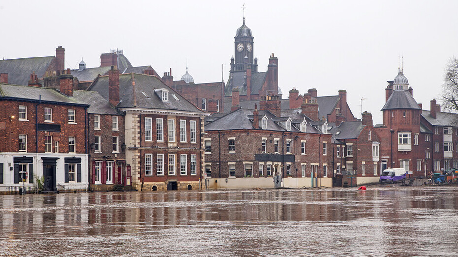 Flooded buildings alongside the River Ouse, York.