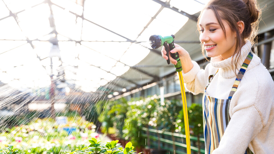 Girl watering green house