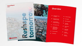 illustration, Annual Report 2018. AR-2018. Full year financial report. Cover and spread