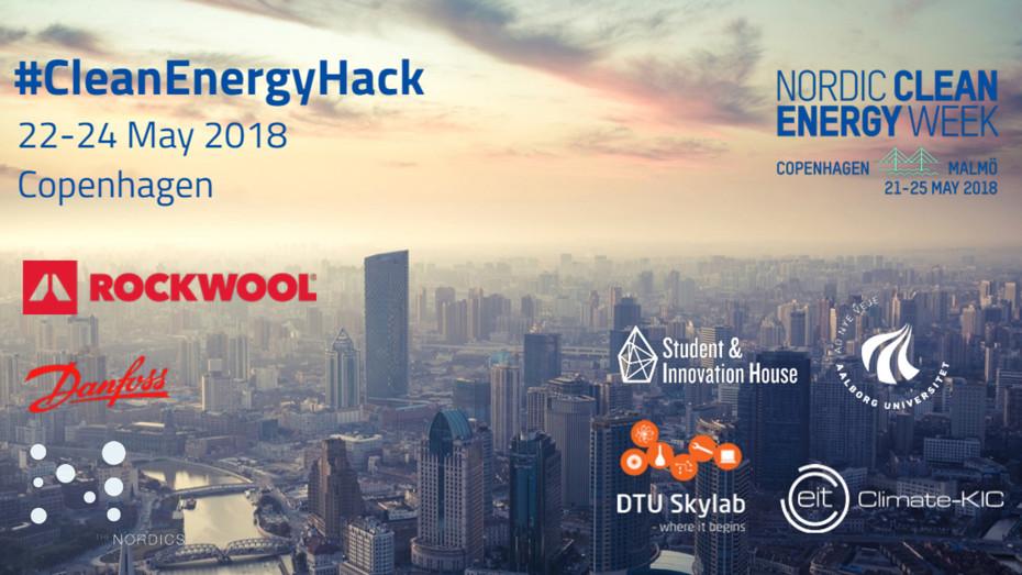 Clean Energy Hack logo. Clean Energy Hack during Nordic Clean Energy Week in May 2018