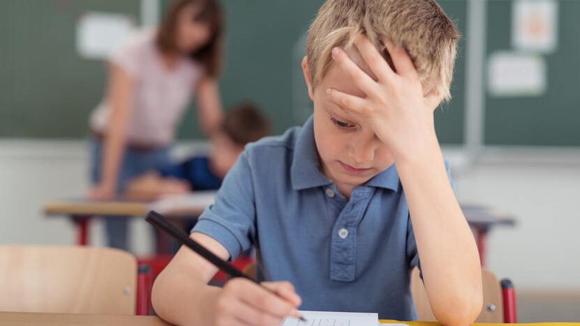 Young schoolboy hard at work in the classroom; Shutterstock ID 310987667; Used for Sustainability Report 2018. academic; book; boy; child; class; classroom; concentration; education; kid; learning; pupil; reading; school; schoolboy; schoolkid; sitting; stress; stressed; student; study; studying; table; work; worry;