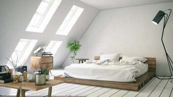 Attic, bedroom, interior