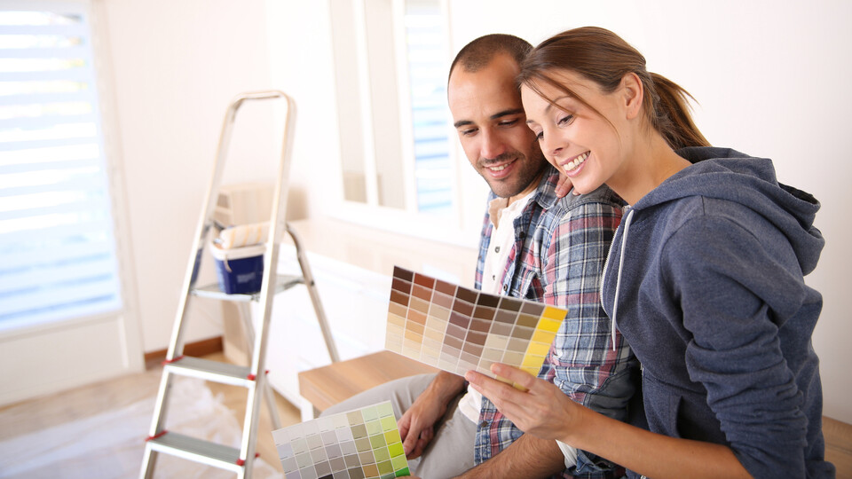 People, Humans, Indoor, Home, Couple, Renovation, Painting