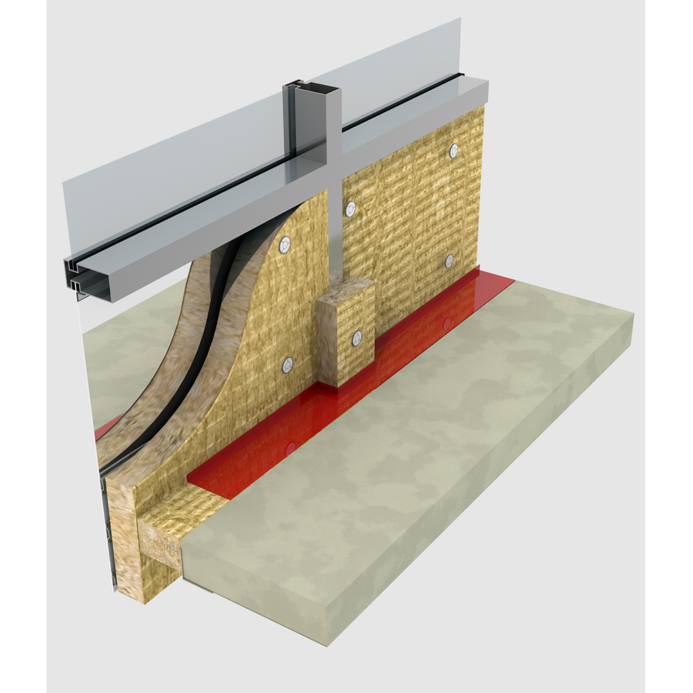 Curtain wall insulation rockwool for Wall to wall curtain