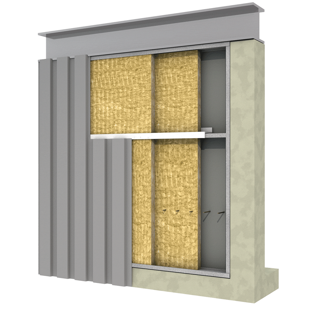 Double Wall Building : Metal building wall insulation rockwool